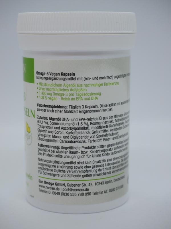 Omega-3 vegan Kapseln Seite