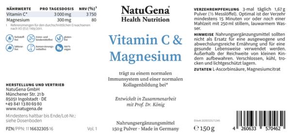 Vitamin-C-Magnesium-Etikett